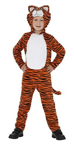 SMIFFYS Costume Tigre,Arancione e Nero, Tuta con Cappuccio e Coda