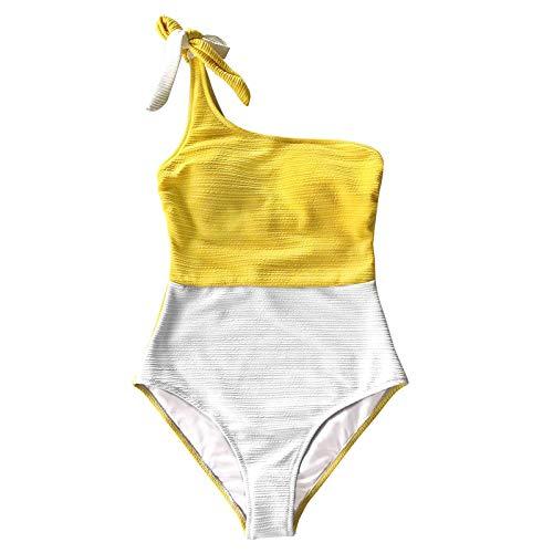 JUNGE One Shoulder One Piece Swimsuit for Women, Teenage Hot Sexy Print Bikini Set 2021 Bathing Suits Color Block Swimming Suit Women's Modest Swimwear Covers Up Monokini Swimdress Beachwear Outfits