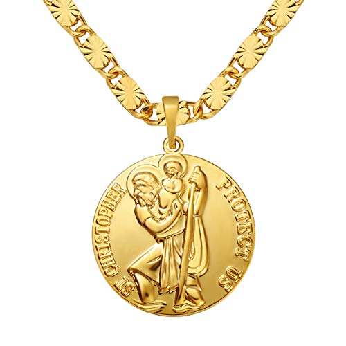 MASARWA Mens 24K Yellow Gold gf Round St Saint Christopher Pendants Chain Necklace Jewellery 60cm,Comes with Velvet Pouch