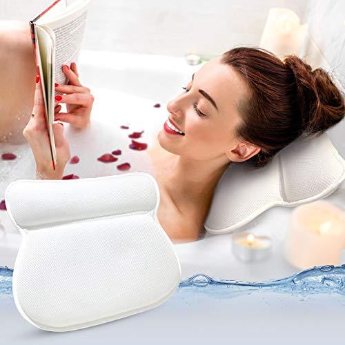 Panda Grip Badewannenkissen, Spa-Kissen mit 4D-Air-Mesh-Technologie Badewanne kopfkissen Mit 4 Saugnäpfen Stützfunktion für Kopf Rücken Schulter Nacken, Geeignet für Whirlpool und Home Spa, Weiß