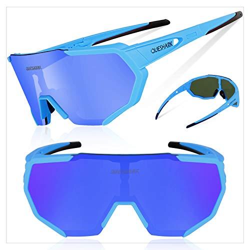 Queshark Radbrille Polarisierte Sportbrille Fahrradbrille mit UV-Schutz 3 Wechselgläser für Herren Damen, für Outdooraktivitäten wie Radfahren Laufen Klettern Autofahren Angeln Golf (Blau) - 2