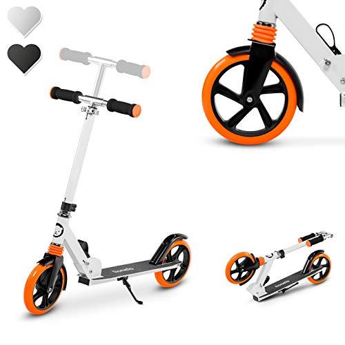 Lionelo Luca Roller Kinder, Stunt Scooter, Tretroller bis 100 kg, Räder 200 mm, einstellbares Lenkrad, Bremse, zusammenklappbar (Weiß-Orange)