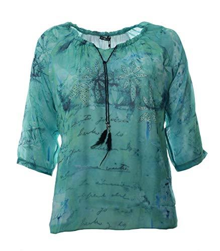 No Secret Damen Chiffon Bluse Schluse Grün mit Strass große Größen 3/4 Arm, Größe:44