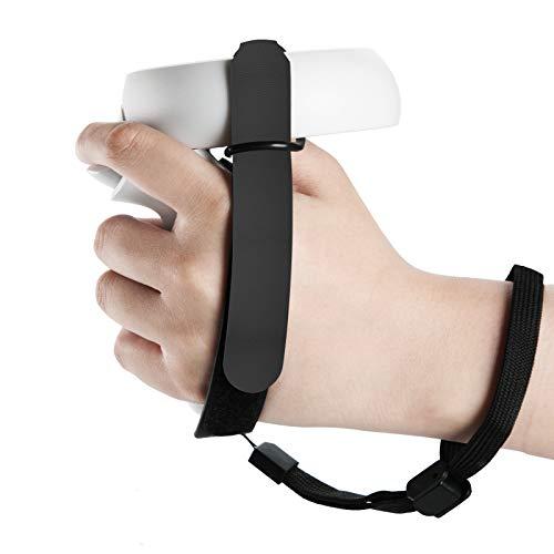 NEWZEROL 1 Set Anti-Rutsch-Gurte Grips Kompatibel für Oculus Quest 2 Strap [Mit Handgelenkbändern] Verstellbare Gurte Touch Controller Griffzubehör mit Klettverschluss - Schwarz