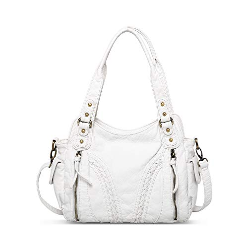 Montana West Handbags for Women Washed Leather Shoulder Purses Concealed Carry Tote Satchel Bags Handgun Large Crossbody Bag White MBB-MWC-019WT