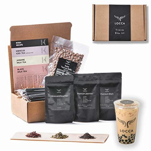 DIY PREMIUM BOBA TEA KIT WITH ORGANIC HIBISCUS & ROSEHIPS, PREMIUM JASMINE AND BLACK TEA, TAPIOCA PEARLS (BOBA) AND BLACK STRAWS / LOCCA DIY BUBBLE TEA KIT / MILK TEA KIT (HIBISCUS DREAM)