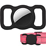 Protective Airtag Case for Dog Collar, Pet/Dog Collar Holder Case Compatible with Apple AirTag, Waterproof Airtag Loop for GPS Tracker Lightweight Soft Anti Scratch Anti Lost Black