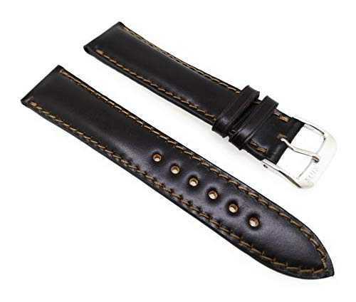 Rios Cordovan Uhrenarmband Chicago 22mm Dunkelbraun - Mokka Vollumbugband Made in Germany