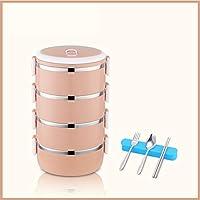 積み重ね可能なステンレス鋼の弁当箱,漏れ 熱 大人のための食器が付いている絶縁された食糧貯蔵容器 オフィス-k 25.5x14.5cm(10x6inch)