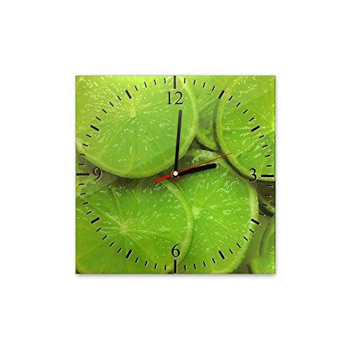 Bilderdepot24 Wanduhr aus Glas 30x30cm - 038 - Limetten - Uhr aus Glas - Glasuhr - 3D Optik - Analog - dekoratives Muster - günstig - Ziffernblatt - Uhrwerk - Wanduhr - Uhrzeit - Obst - Zitrone