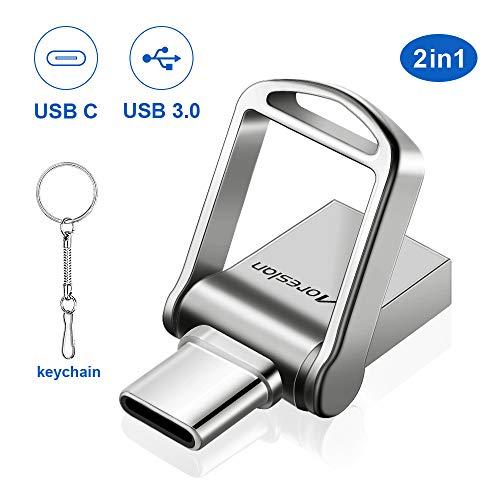 USB-Stick 32 GB, Moreslan USB 3.0 Memory Stick 2 in 1 Type C USB3.0 Mini Memory Stick Flash Drive Wasserdichtes Metall mit Schlüsselbund für Smartphone, MacBook, Telefon, Tablet, Computer, Auto