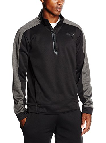 PUMA Herren Fleecejacke TECH Fleece 1/4 Zip, Black-Asphalt Heather, S