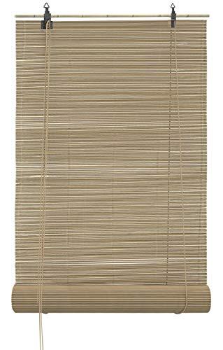 JalousieCrew Bambusrollo Bambus Raffrollo Natur Breite 60-160 cm Länge 160 cm Seitenzug Fenster Tür Rollos Holzrollo (60 x 160 cm)