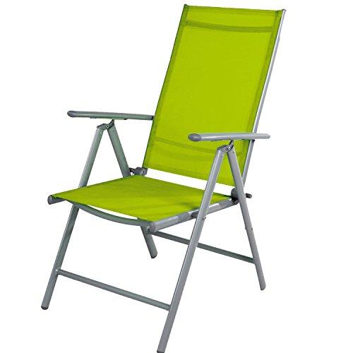 Mojawo Gartenstuhl - Hochlehner Positionsstuhl 7-Fach verstellbar - zusammenklappbar - Klappstuhl - witterungsbeständiges Aluminium - wetterfeste Gartenmöbel - Silber/Lime