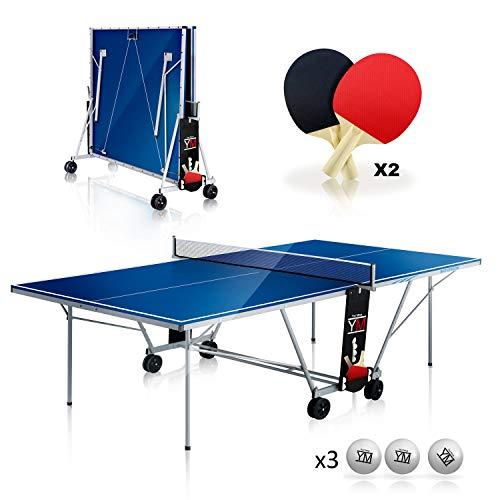 Mesa plegable interior de ping pong YM DRAGO - Dimensiones oficiales del torneo 274 x 152.5 x 76 cm - Ruta de transporte - Raquetas y pelotas incluidas - Sistema de seguridad múltiple doble