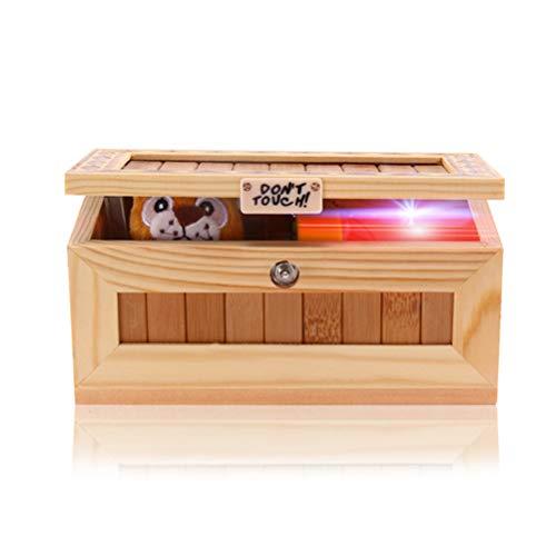 """Yissma Cartoon Holz """"Useless Box"""", Aufschrift: """"Don't Touch"""", Tiger in Holzkiste, Geschenk und Juxartikel für Witze Lustige Spielzeug für Freunde und Kinder Spielzeug"""