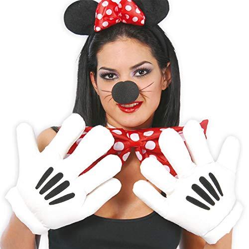 Amakando Maus Riesenhände Paar Jumbo Handschuh Minnie Maus Riesenhandschuhe Mickey Handschuhe Karnevalskostüme Accessoires Comic Figur Körperteile Comichände