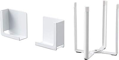 山崎実業(Yamazaki) マグネットタブレットホルダー タワー ホワイト 約W5XD2.5XH5cm タワー 挟んで固定 様々なサイズに対応可 4984 & ポリ袋エコホルダー タワー ホワイト 6787【セット買い】