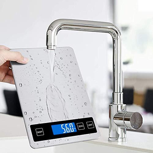 Sweetone Báscula de cocina digital, con 5 unidades de medida, indicador LED de carga, alta precisión, de acero inoxidable, báscula electrónica para casa y cocina, 5 kg