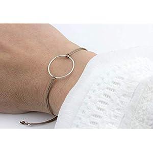 Armband Kreis Taupe-Silber