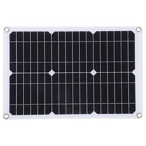 Panel solar, energía solar de silicio monocristalino de 20 W y 18 V, cargador de batería de coche para teléfono para exteriores con panel celular con salida USB doble