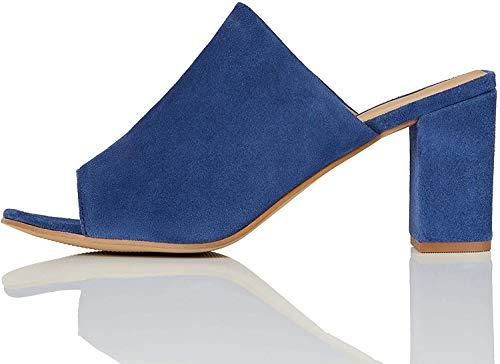 find. Mules Damen mit offener Ferse und Blockabsatz, Blau (Blue), 40 EU