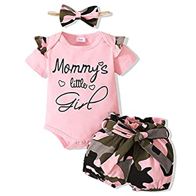 Newborn Girl Clothes Summer Baby Girl Outfit Pink Infant Clothing Short Sleeve Romper Camo Girls Shorts Set 0-3 Months Baby Girl Clothes by
