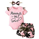 Newborn Girl Clothes Summer Baby Girl Outfit Pink Infant Clothing Short Sleeve Romper Camo Girls Shorts Set 0-3 Months Baby Girl Clothes