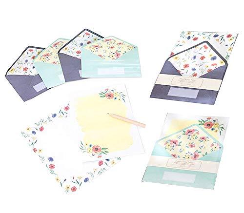 moin moin レターセット 手紙 花柄 フラワー 花 鮮やか おしゃれ 上品 2種セット( 便箋4枚 + 封筒 2枚 × 2つ セット )