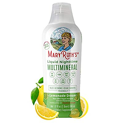 Vegan Liquid Nighttime Multimineral by MaryRuth's - Highest Purity Ingredients, Vitamins, Minerals, Magnesium & MSM Builds Tissue Providing for a Deeper Sleep & Less Stress (Lemonade Dream)