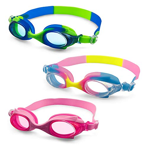 MOTOEYE Kids Swim Goggles Pack of 3,for Baby Children,Infant,Toddlers,Boys Girls from 2 to 5 Years Old