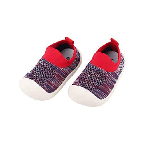 Bebé Infante Niños Niñas Zapatos de Primeros Pasos Antideslizante Zapatillas de Volar Tejida Sneaker Slipper para Pies Anchos Respirable Ultra-Ligero - Talla del Fabricante 15 Rojo