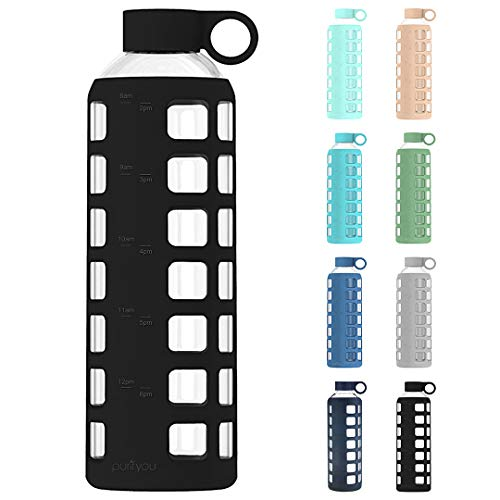 purifyou Premium Glass Water Bottle w/Time and Volume Markings Plus Ultra-Soft Silicone Sleeve & Stainless Steel Lid Insert 32/22 / 12 oz (Jet Black, 32 oz)