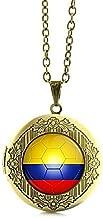 Pendant Necklaces - Portugal Football Team Locket Necklace Argentina Australia Belgium Bosnia Colombia Costa Rica Ecuador Team Jewelry N512 - by Mct12-1 PCs