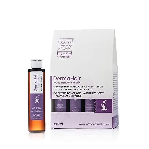 Wawa Fresh Cosmetics, Hair DermaHair Booster Cabello dañado/Puntas abiertas/Roto/Brillante, Cuidado del cabello 100% natural, 8 x 10 ml