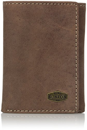 Buxton Men's Expedition RFID Blocking Leather Three-fold Wallet, Walnut, One Size