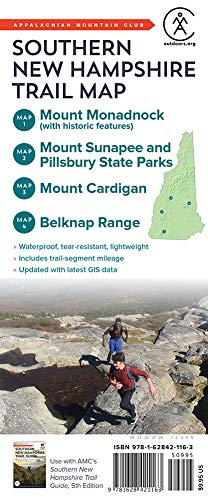 Southern New Hampshire Trail Map: Mount Monadnock, Mount Sunapee and Pillsbury State Parks, Mount Cardigan, and Belknap Range
