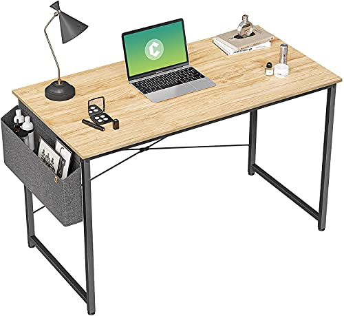 Cubiker Computer Desk 40 inch Home Office Writing Study Desk, Modern Simple Style Laptop Table with Storage Bag, Natural