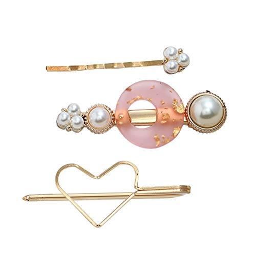 Beisoug orecchini per donne ragazze temperamento dolce gelatina resina perla 3 pezzi set clip di capelli ragazza clip di parola
