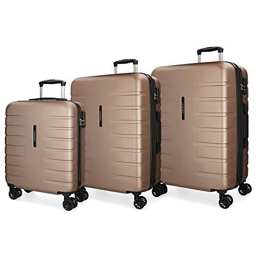 Movom Turbo Juego de maletas Beige 55/69/79 cms Rígida ABS Cierre combinación 242L 4 Ruedas dobles Equipaje de Mano