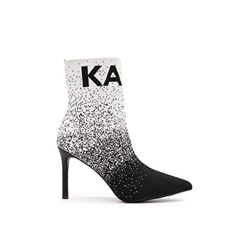 Karl Lagerfeld KL31371 Pandora High Heels Stiefeletten Strick Schwarz Weiß, Weiß - Weiß - Größe: 36 EU