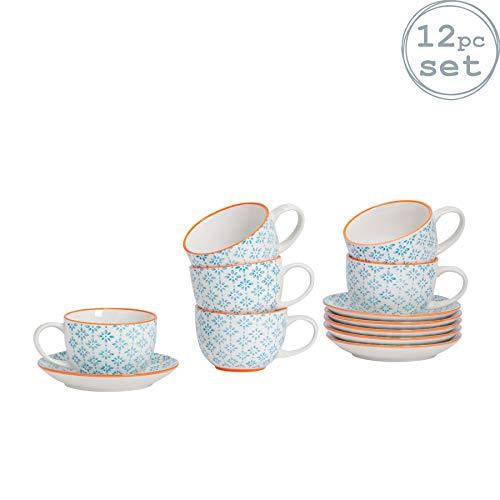Nicola Spring Gemustertes Porzellan Cappuccino/Tee-Tassen und Teller-Set - Blau/Orange Aufdruck Design - 6er-Set