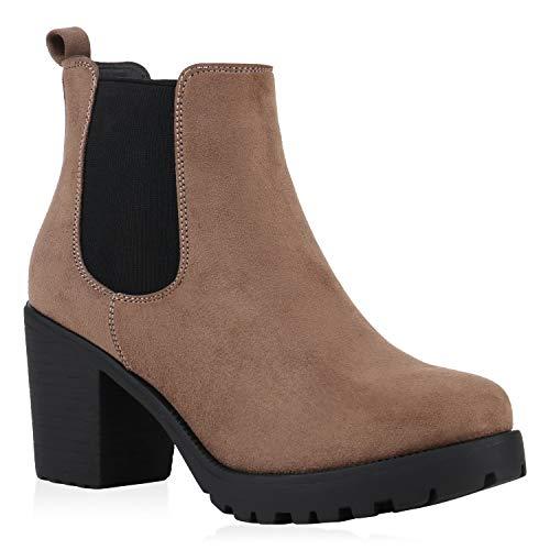 stiefelparadies Damen Stiefeletten Chelsea Boots Wildleder-Optik Schuhe High Heel Plateau Booties Profilsohle 125271 Khaki Hellbraun 39 Flandell