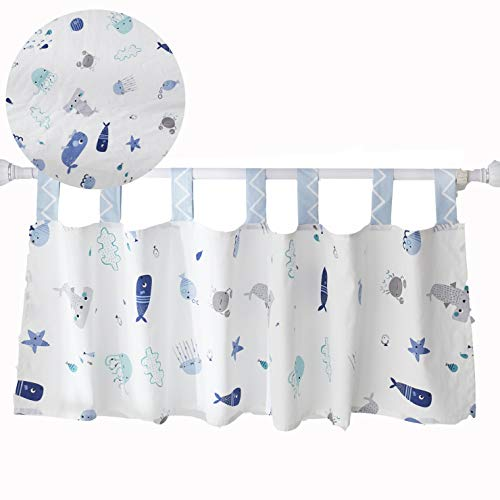 Brandream Baby Boys Window Valance Nautical Theme Nursery Curtain Panels Newborn Infant Toddler Room Window Treatment 100% Cotton, 1 Pack