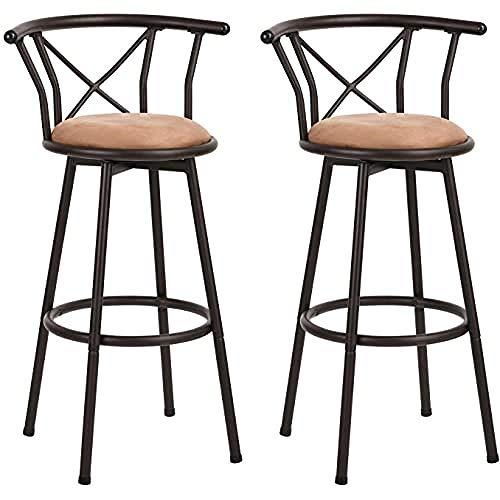 MEUBLE COSY Set di 2 sgabelli da bar, altezza della seduta 77 cm, stile industriale girevole con poggiapiedi imbottito con schienale e cuscino