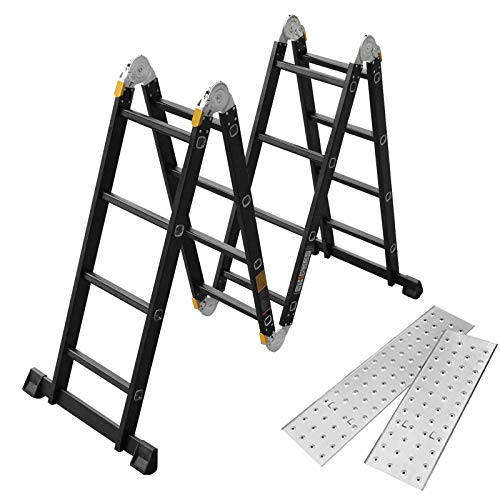 Asina Escalera Multiusos 4.7M Plegable Andamio Doméstica de Aluminio Cargable Hasta 150KG Articulada Multifunción Escalera 4x4 Peldaños con 2 Placas y Ruedas(Negro)