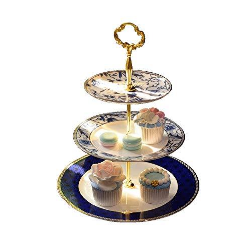 Z-Color Doble Placa del Cuenco de Fruta de la Sala Creativo de Tres Capas Soporte de la Torta Postre de azúcar Plato de Fruta Seca de la Tarde de té de cerámica Snack-Plate