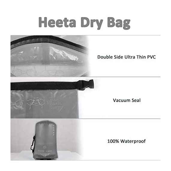 HEETA Waterproof Dry Bag for Women Men, 5L/ 10L/ 20L/ 30L/ 40L Roll Top Lightweight Dry Storage Bag Backpack with Phone… 6 Waterproof - Use professional seamless technology. Our dry bag has the overall waterproof capability, making sure to keep your items and valuables dry when you do some water sports like boating and kayaking but not underwater sports Durable - Made by 0.02 in (0.6 mm) thick wear-resistant material, suitable for outdoor activities, waterproof bag nicely adapts to all kinds of weather and environment Multifunctional - Adjustable Shoulder Straps & Handle for shoulder carrying and backpack, very convenient for different occasions like boating, rafting, kayaking, swimming, mountaineering, etc. The lightweight dry bag won't aggravate the burden of your arms or shoulder
