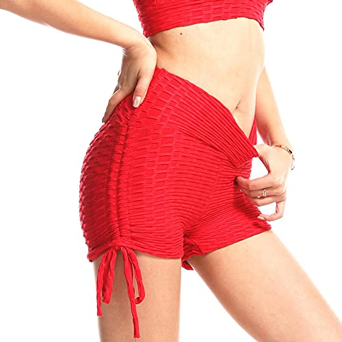 BUXIANGGAN Shorts Pantalones Cortos Mujer Pantalones Ajustados De Burbuja De Melocotón con Cordón Mujer Yoga Pantalones Cortos para Correr De Cintura Alta A Prueba De Sudor-Red_XL