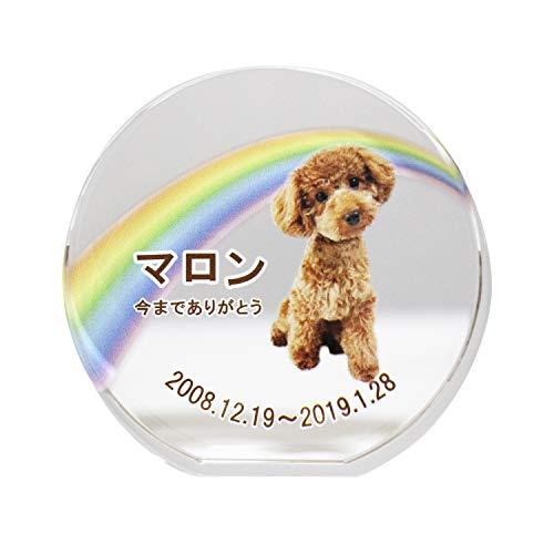 ペット位牌 サークルスタンド 自立型 フルカラー プリント クリスタルガラス ペット仏具 (1.虹(レインボー))